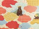 入園入学 生地 布 木枯らし熊次郎 KTS6268A また旅のクマさん ツキノワグマ 動物柄 コット