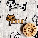 綿麻 キャンバス生地 布 整列にゃんこ KTS3706A 動物柄 ねこ 猫 コットンこばやし 商用利用可能