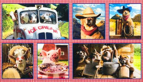 パネル柄 生地 布 輸入 USAコットン ファームヤードバディーズ Farmyard Buddies AVT-17211-193 デジタルプリント ロバートカフマン ROBERT KAUFMAN 動物柄