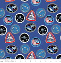 C7802-BLUE 輸入 USAコットン キャラクター生地 布 NASA C7802-BLUE ワッペン柄 スペースシャトル 宇宙柄 ライリーブレイク 商用利用可能