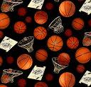 輸入 USAコットン 生地 布 バスケットボール 132-BLACK スポーツ SPORTS 入園入学 エリザベススタジオ 商用利用可能