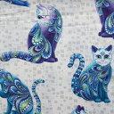 輸入 USAコットン 生地 布 アーティスト-O-キャッツ 10262P-09White 猫 ネコ 動物柄 カンヴァス ベナーテックス 商用利用可能
