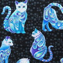 輸入 USAコットン 生地 布 アーティスト-O-キャッツ 10262P-12-Black 猫 ネコ 動物柄 カンヴァス ベナーテックス 商用利用可能
