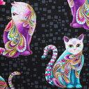 輸入 USAコットン 生地 布 アーティスト-O-キャッツ 4201M-12BLACK/MULTI 猫 ネコ 動物柄 カンヴァス ベナーテックス 商用利用可能