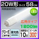 【あす楽】led蛍光灯 20w 58cm 昼光色 1200LM FL20 グロー式工事不要 広配光 G13 20w形 led 蛍光灯 直管型LEDランプ 直管蛍光灯 一年保証