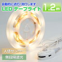 LEDセンサーライト LEDテープライト 1.2m 人感センサー 防水 電球色 寝室 廊下 LED照明 低圧12V 足元灯 常夜灯 ベッド 光センサー LED多目的灯