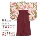 《袴セット HL/CB》卒業式 袴 セット 女性 12colors 5点 レディース 振袖 H・L(アッシ