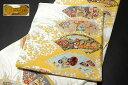 ショッピングおもちゃ 「京都西陣織:廣部商事謹製」 扇面 玩具文様 草花 正絹 袋帯