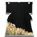 ■手縫い仕立て付き 京都一流染匠「久保耕 久美すがた」 浜ちりめん 落款入り 黒留袖■