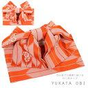 結び帯 浴衣帯 女性 作り帯 つくりおび 浴衣 帯 付帯 帯 レディース 浴衣帯 大人 オレンジ レトロ 矢絣 かわいい 5163