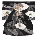 【レンタル】お宮参り 男の子 / 2016黒地 . 本絞り刺繍鷹 / レンタル 帽子 よだれかけ 着物 お宮参り着物 男児 祝い着 男 のしめ 産着 初着 宮参り 京都 赤ちゃん ベビー帽子セット無料レンタル 送料無料