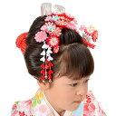 【あす楽】【七五三】【髪飾り】勝山かんざし・ちんころ4点セット 赤ピンク花【RCP】