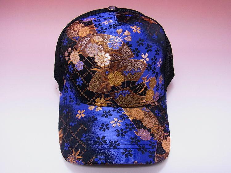 【日本のおみやげ】◆和風キャップ【金襴扇面華ぼかし/青】メッシュタイプ