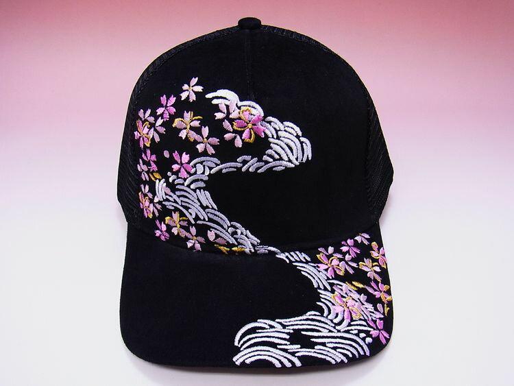 【日本のおみやげ】◆和風キャップ【桜】メッシュタイプ