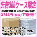 【先着限定セール】送料無料 スコッティ ティッシュペーパー 200組 5箱×12パック ティッシュ ケース まとめ買い 00115