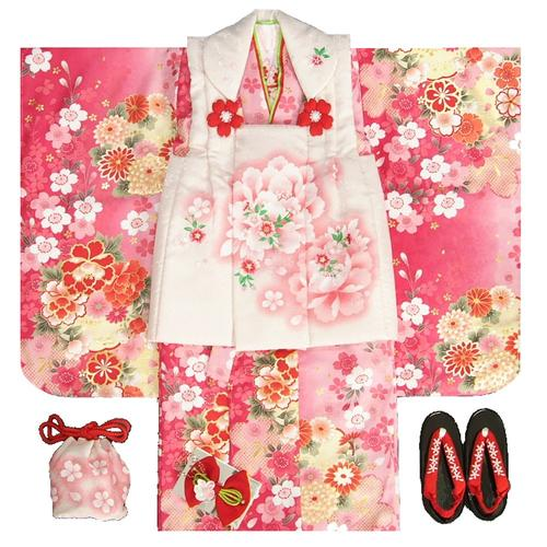 七五三 着物 被布セット着物 3歳 女の子 被布セット  マユミ 濃淡ピンク地 被布淡いピ…...:kyoubi:10000099