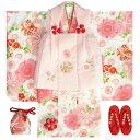 七五三着物 3歳 女の子被布セット 京都花ひめ 白地着物 被布ピンク刺繍使い 桜