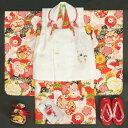 七五三着物 正絹 3歳女の子被布セット 京都花ひめブランド 朱赤色 飛翔鶴 被布白 刺繍使い 足袋付セット 753 日本製