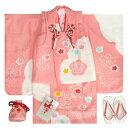七五三被布セット正絹着物 3歳女の子被布セット ピンク 本絞り 雪輪染め 刺繍四季梅桜 足袋付きフルセット 日本製