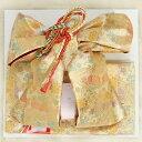 七五三着物用祝い帯 7歳用 ゴールド 扇 桜 友禅柄 飾り紐付き 大サイズ 日本製