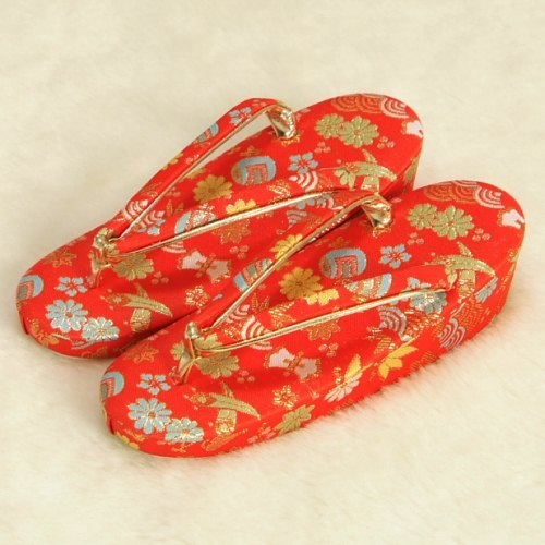 七五三 草履単品 7歳用 赤地色 宝尽くし文様 かかと一枚芯 大サイズ 日本製...:kyoubi:10001258