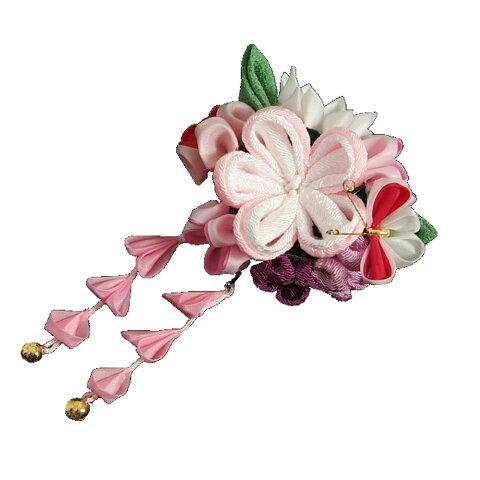 髪飾り 七五三着物 成人式振袖 卒業袴 に最適な和タイプ 蝶 桜垂れ飾り付き クリップピンタイプ 日本製