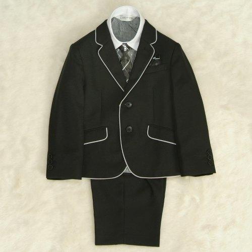 アウトレット 男の子スーツ5点セット 100cm〜130cm  黒パイピング シャツ衿袖クレリック 二つ釦タイプ ハーフパンツセット