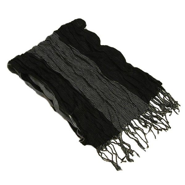 アウトレット フリンジストールマフラー カラー黒グレー 毛混タイプ カジュアル用