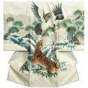 お宮参り 着物 男 正絹初着 男の子用産着 白 鷹 虎 刺繍使い 金彩タタキ加工