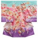 お宮参り着物 女の子 正絹初着 青紫グラデーション 桜柄 金コマ刺繍使い 桜尽くし 日本製