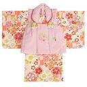 ベビー着物 赤ちゃん用女の子着物 クリーム色着物 橙変わり市松文様 ピンク被布
