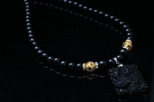 AAA ど迫力 5本爪 黒曜石 黒龍 皇帝龍水晶 オニキス パワーストーン 数珠ネックレス N033