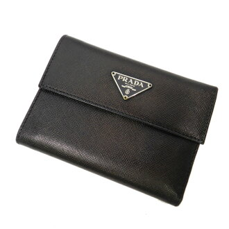 PRADA logo plate folio wallet (there is a coin purse) calf Lady's