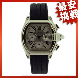 CARTIER Roadster Chrono Watch SS / leather men's