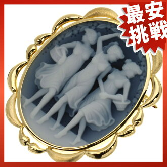 SELECT JEWELRY stone cameo broach K18 gold Lady's fs3gm