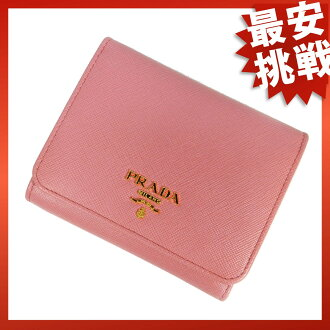 Three pinkness leather wallets fold wallet (there is a coin purse) leather Lady's of the PRADA PRADA constant seller