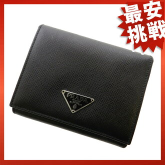 PRADA compact three fold two-fold wallets (purses and) nylon x leather unisex