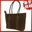 HERMES garden zip PM tote bag canvas x leather Lady's