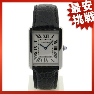 CARTIER tank solo LM watch SS / leather men's