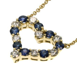 TIFFANY&Co. ピンチドハートサファイア / diamond necklace K18 gold Lady's fs3gm