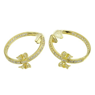 Ponte Vecchio ribbon motif diamond earrings K18 yellow gold Lady's fs3gm
