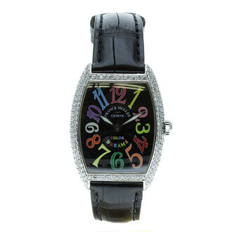 FRANCK MULLER color dreams 7502 QZ aftermarket diamond watch SS / Leather Womens upup7