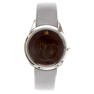 Calvin Klein round case watch SS/ leather men