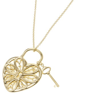 TIFFANY & co... Figure heart & key necklace-pendants K18 gold ladies