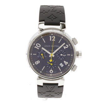 LOUIS VUITTON Tambour Chronograph Watch SS / rubber men