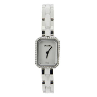 CHANEL premiere ceramic H2132 Diamond Bezel watch SS / ceramic ladies