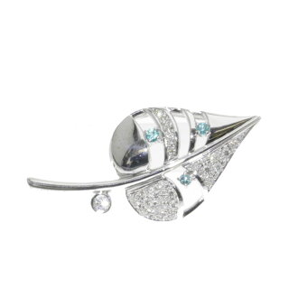 Tourmaline and diamond brooch K18 white gold ladies