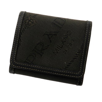 PRADA three fold wallet folio wallet (there is a coin purse) canvas X leather unisex