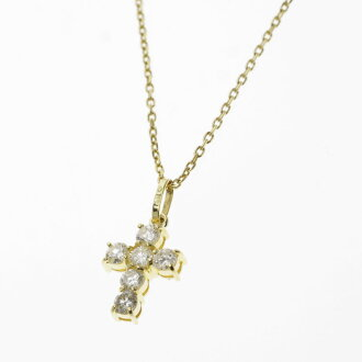 SELECT JEWELRY cross motif diamond necklace K18 gold Lady's