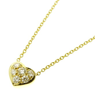 TIFFANY &Co... pavediaheart necklace K18 18kt yellow gold ladies
